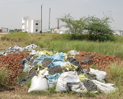 Illegally Dumped Sludge at Sinhachawar Plant